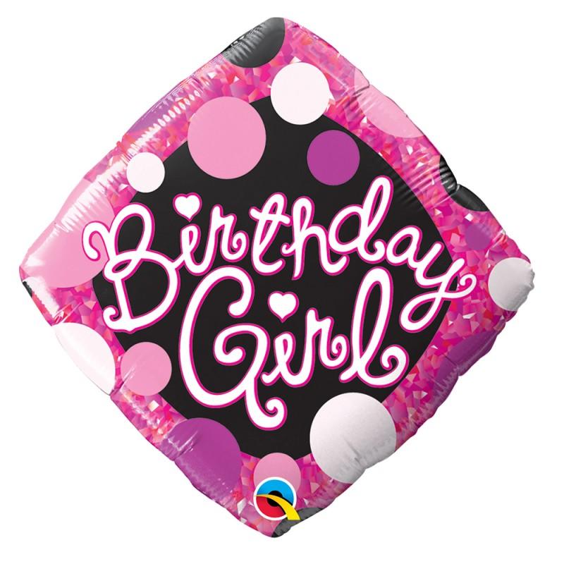 Balão Birthday Girl • Super Shape • Qualatex