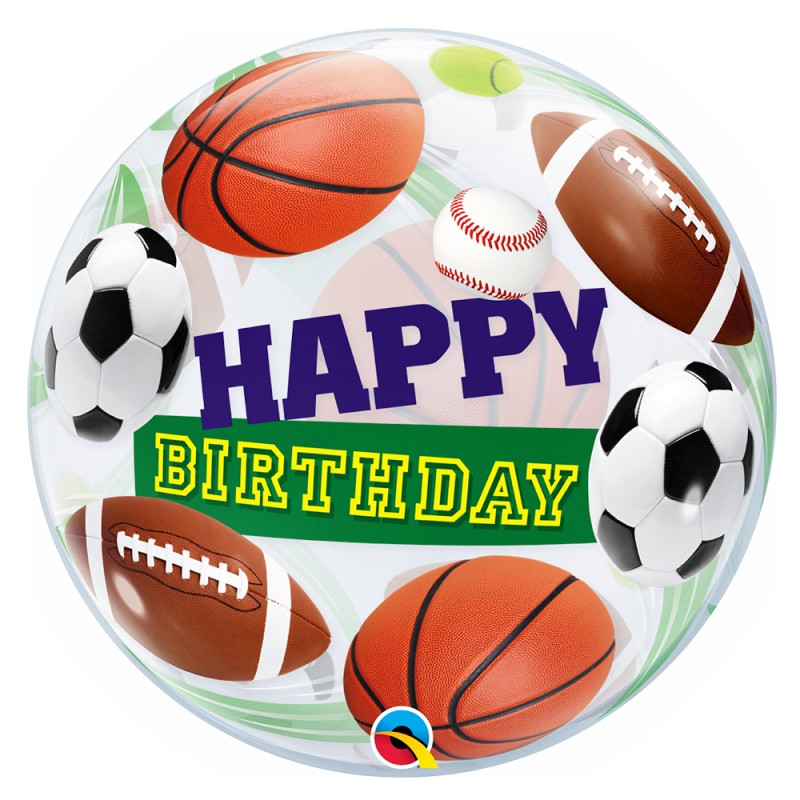 Balão Happy Birthday • Esportivo • Bubble • Qualatex