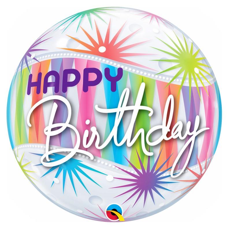 Balão Happy Birthday • Colorido • Bubbles • Qualatex