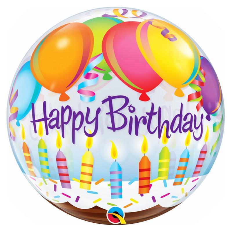 Balão Happy Birthday • Bolo de Aniversário • Bubble • Qualatex