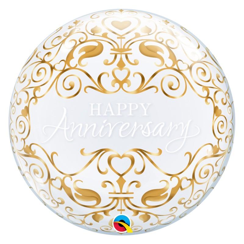 Balão Happy Anniversary Dourado • Bubble • Qualatex