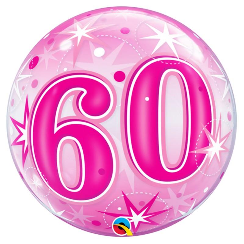 Balão 60 Anos Rosa - Bubbles