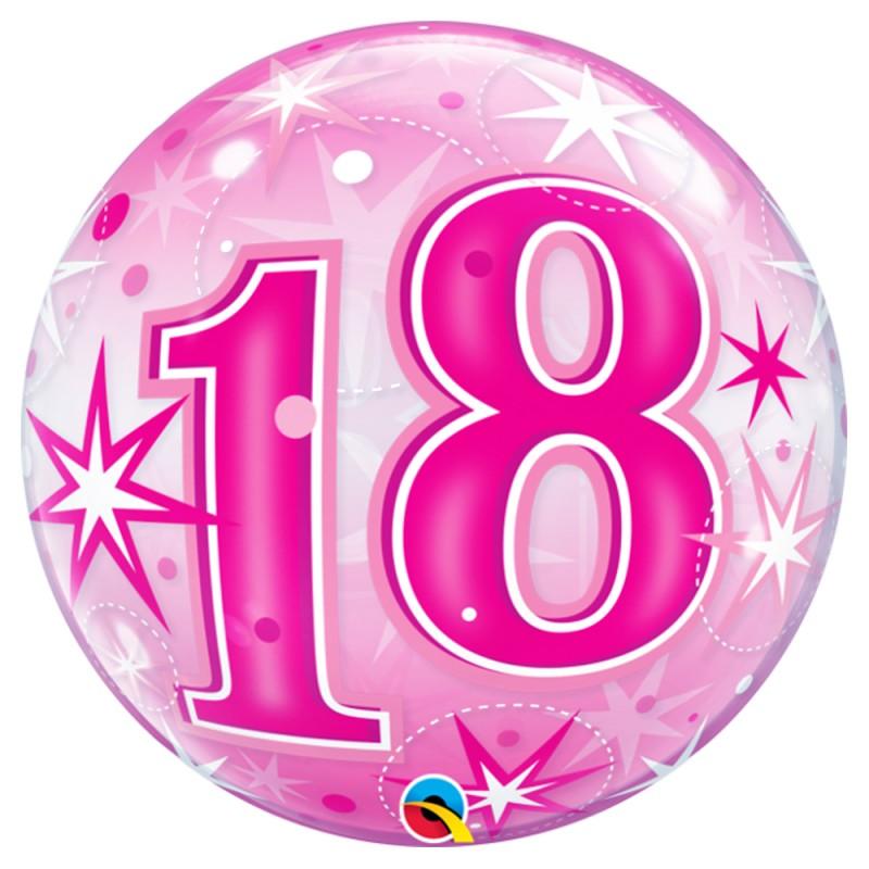 Balão 18 Anos Rosa • Bubble • Qualatex