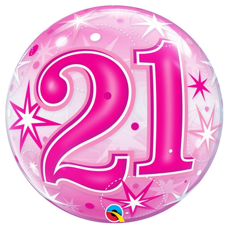 Balão 21 Anos Rosa • Bubble • Qualatex