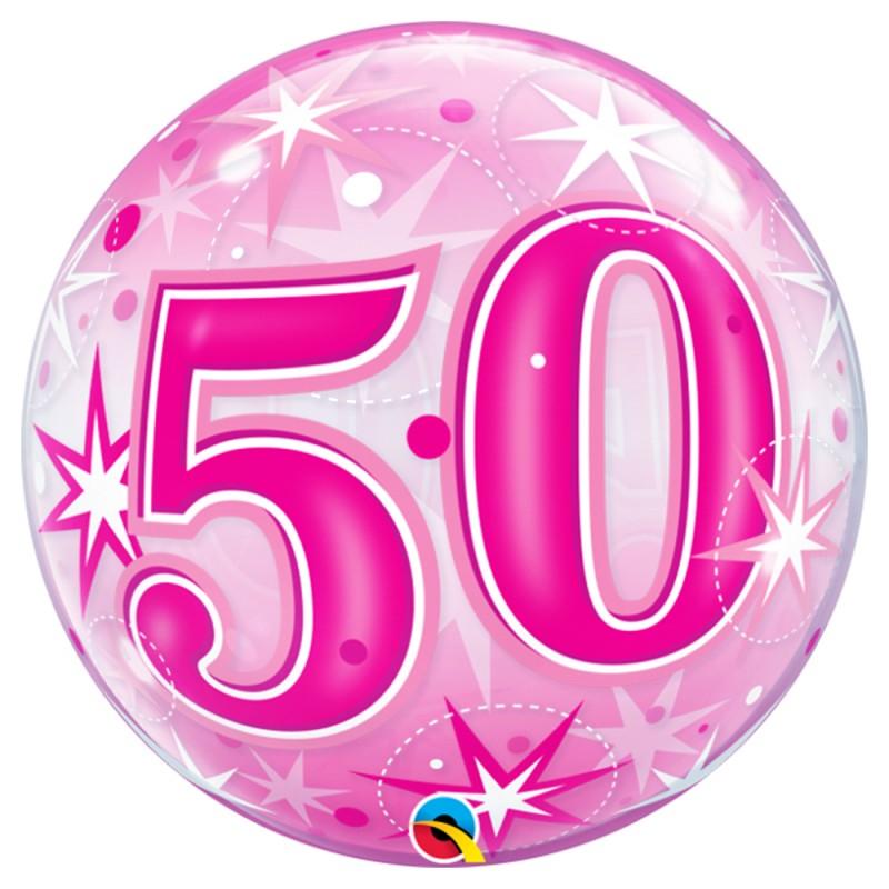 Balão 50 Anos Rosa • Bubble • Qualatex