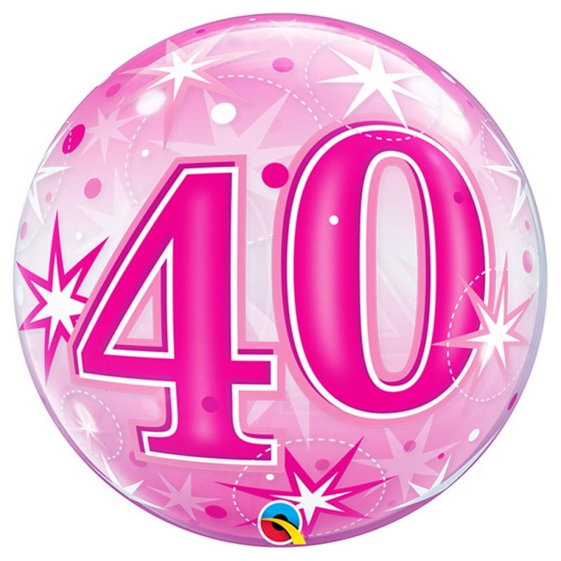 Balão 40 Anos Rosa • Bubble • Qualatex
