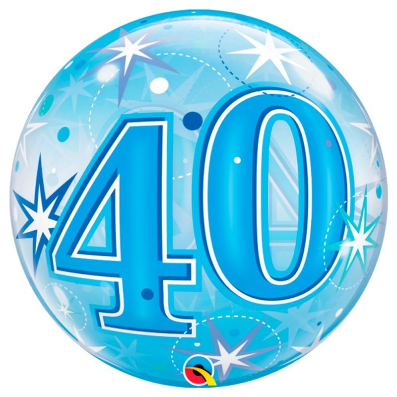 Balão 40 Anos Azul • Bubble • Qualatex