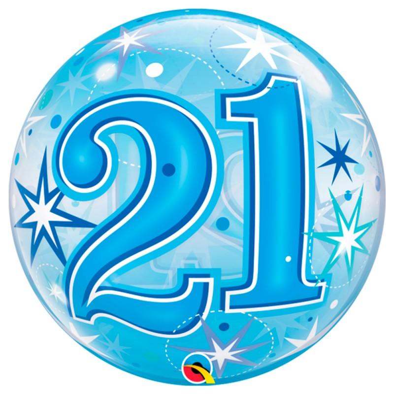 Balão 21 Anos Azul • Bubble • Qualatex