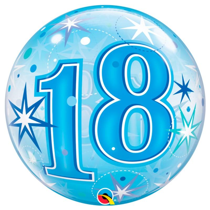 Balão 18 Anos Azul • Bubble • Qualatex