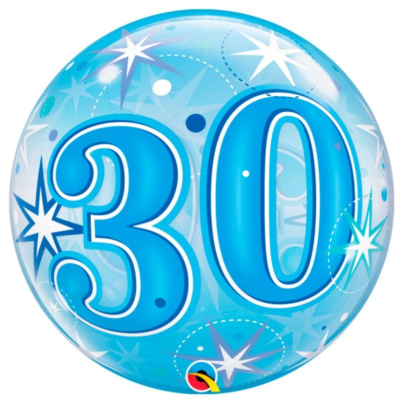 Balão 30 Anos Azul • Bubble • Qualatex