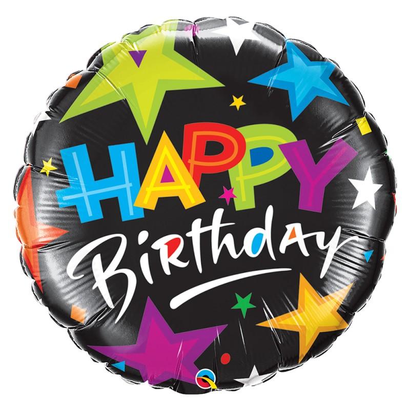 Balão Happy Birthday • Black Star • Foil • Qualatex