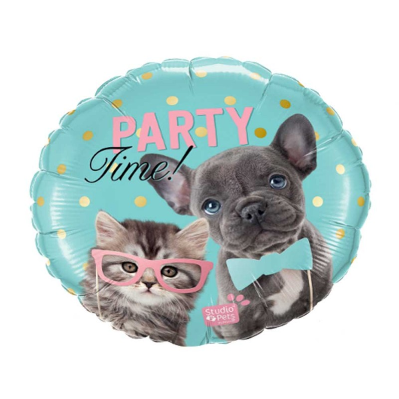 Balão Party Time • Gatinho e Cachorrinho • Foil • Qualatex