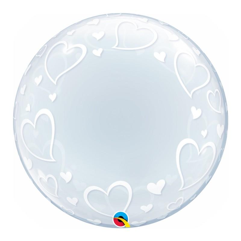 Balão Deco Corações • Bubble • Qualatex