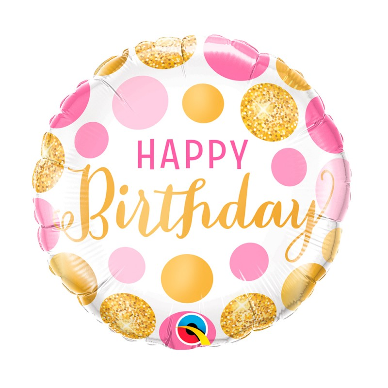Balão Happy Birthday • Branco C/ Rosa • Foil Qualatex