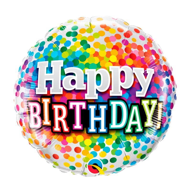 Balão Happy Birthday • Confetes • Foil • Qualatex