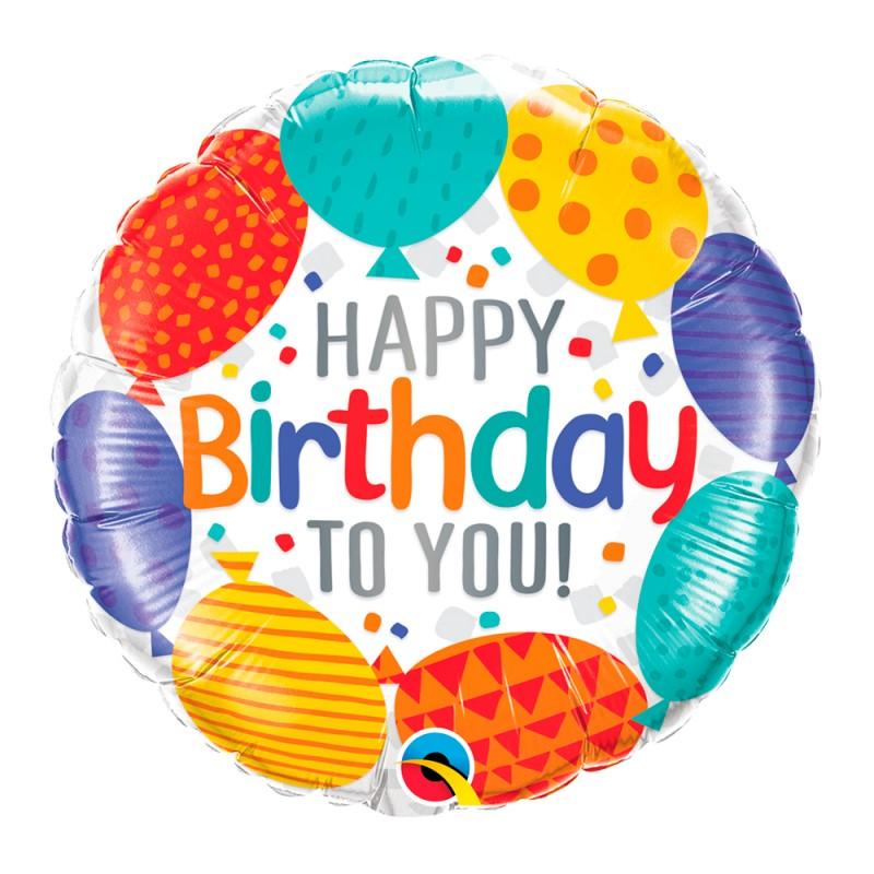 Balão Happy Birthday • Bexigas • foil • Qualatex