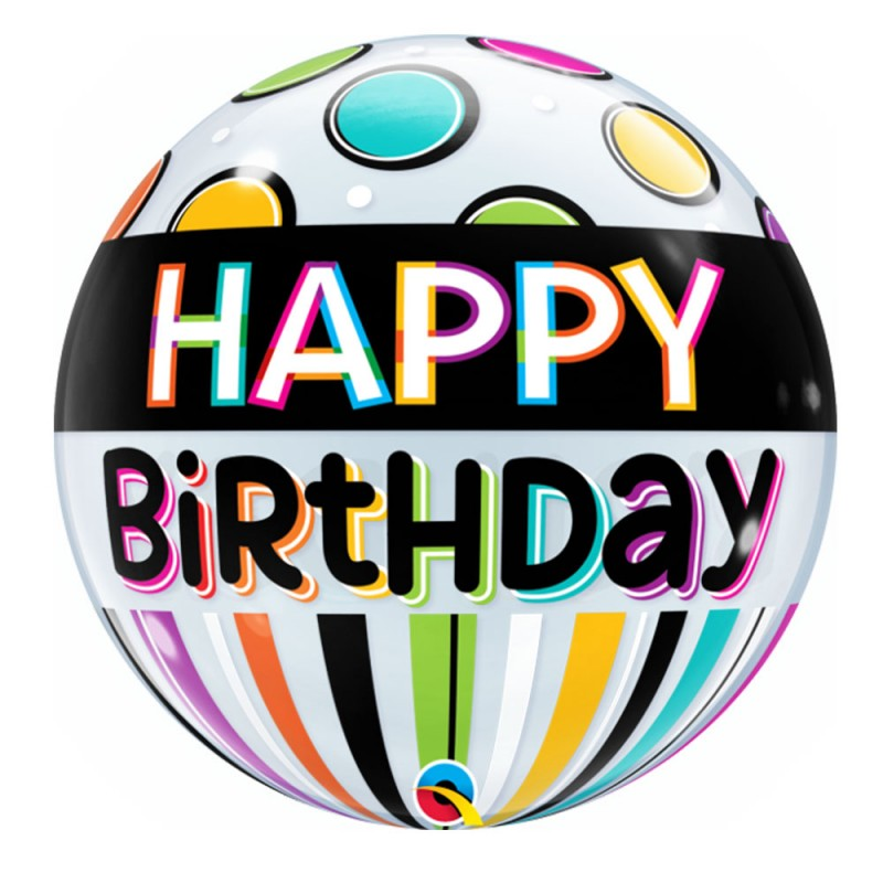 Balão Happy Birthday Bolinhas • Bubbles