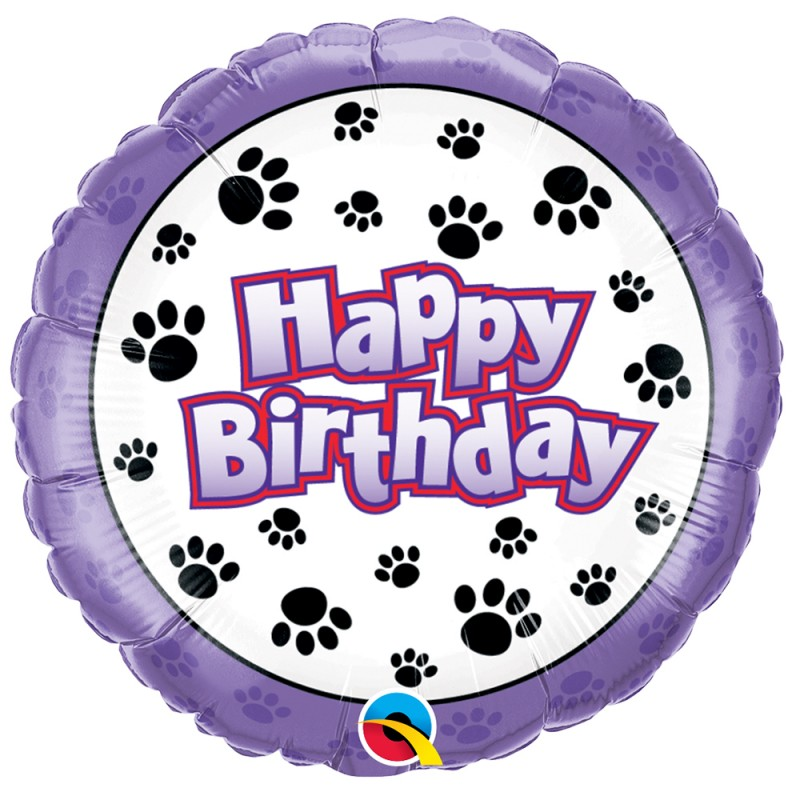 Balão Happy Birthday c/ Patinhas • Foil • Qualatex