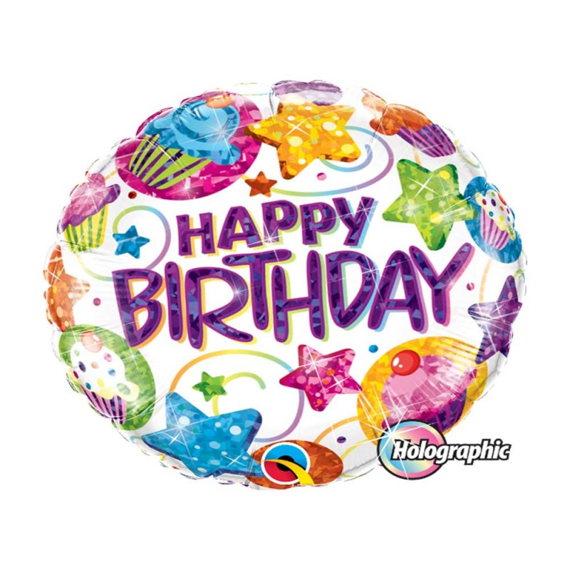 Balão Happy Birthday • Cupcake • Foil • Qualatex