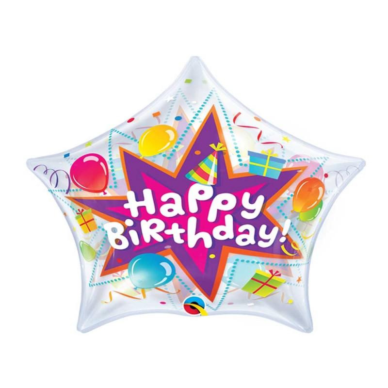 Balão Estrela • Happy Birthday • Qualatex