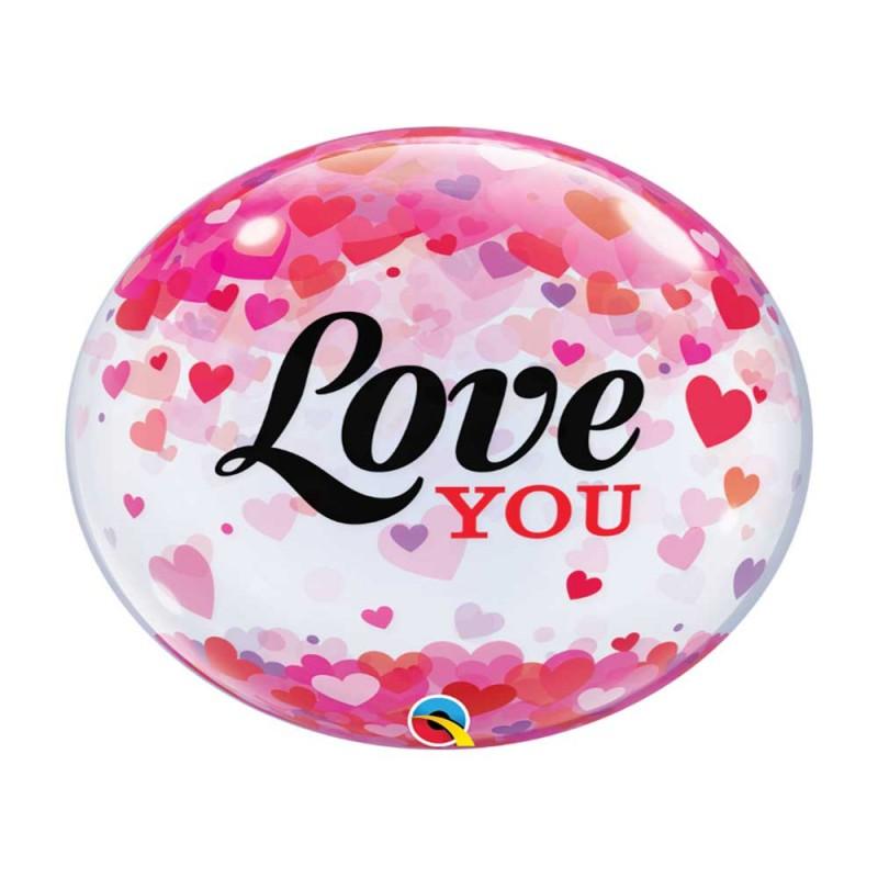Balão Coração • Love You - Bubbles