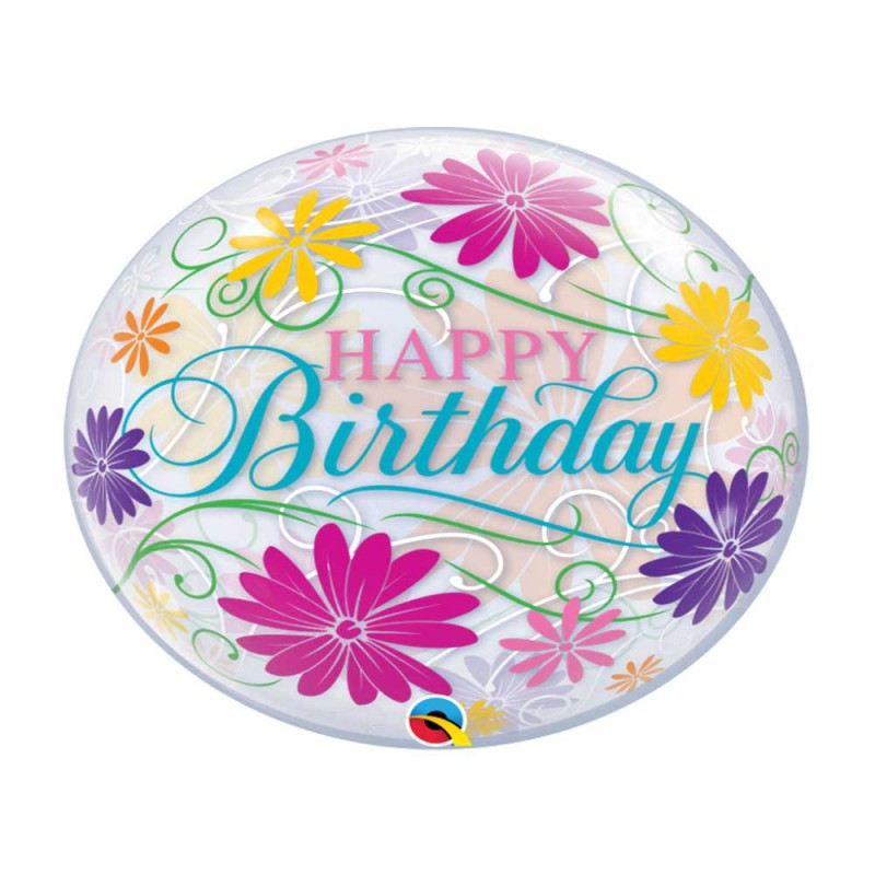 Balão  Happy Birthday • Flores - Bubbles