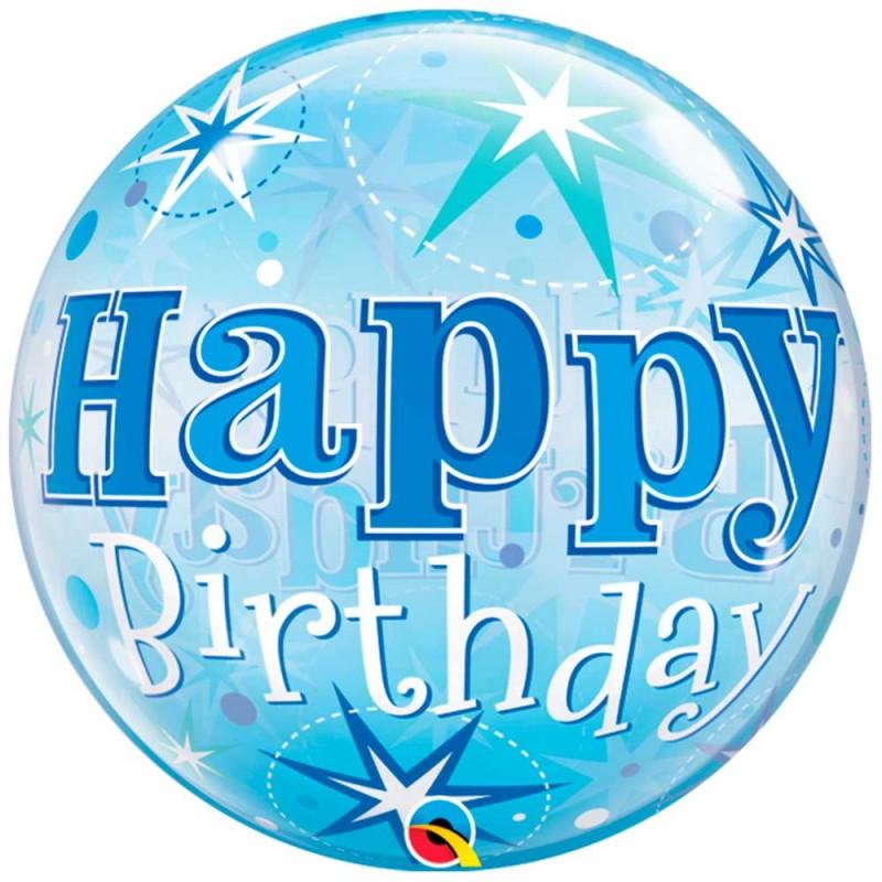 Balão Happy Birthday Azul • Bubbles • Qualatex