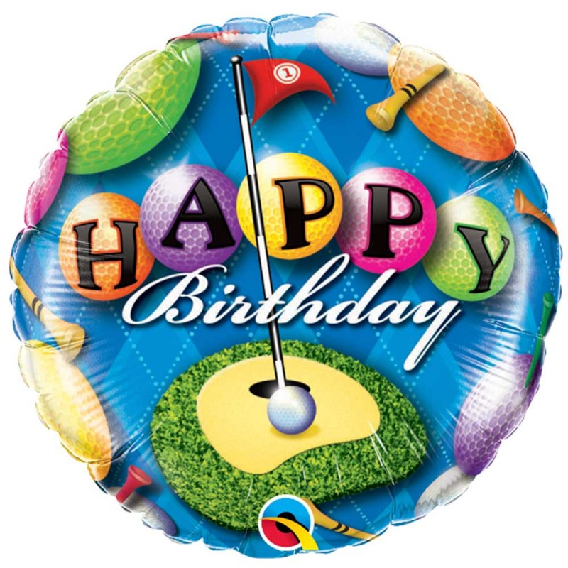 Balão Happy Birthday Golf • Foil • Qualatex