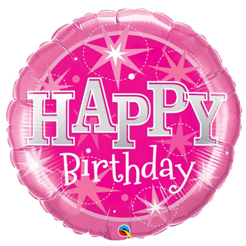 Balão Happy Birthday • Rosa • Foil • Qualatex