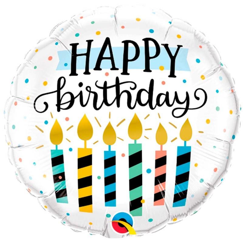 Balão Happy Birthday • Velinhas • Foil • Qualatex