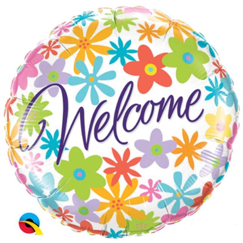 Balão Welcome • Flores • Foil • Qualatex