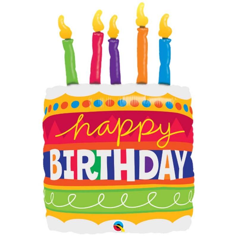 Balão Happy Birthday • Bolo de Aniversario • Super Shape • Qualatex