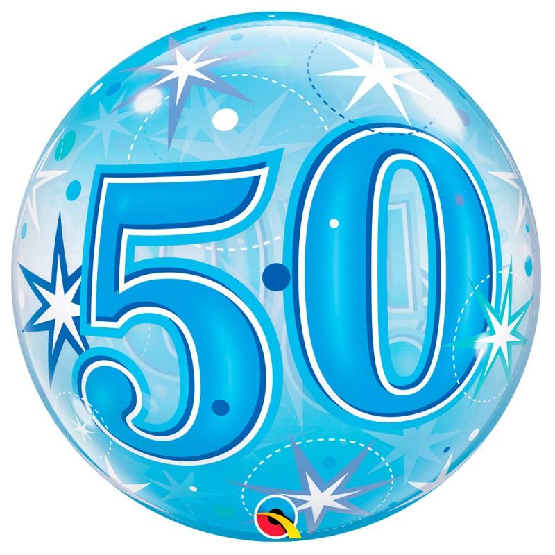 Balão 50 Anos Azul • Bubble • Qualatex