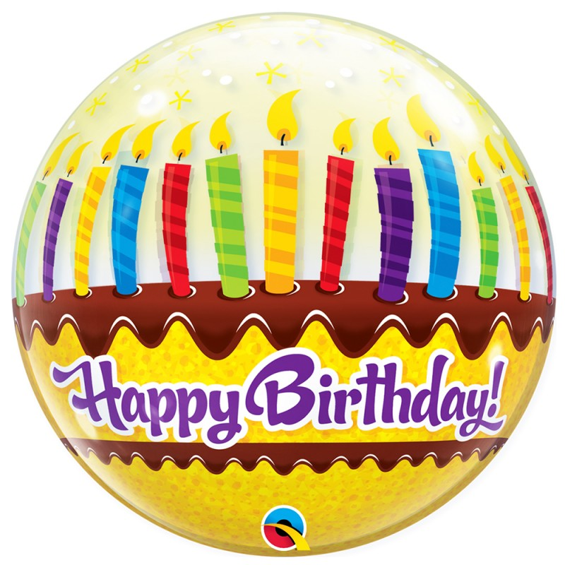 Balão Happy Birthday • Bolo c/ Velas • Bubble • Qualatex