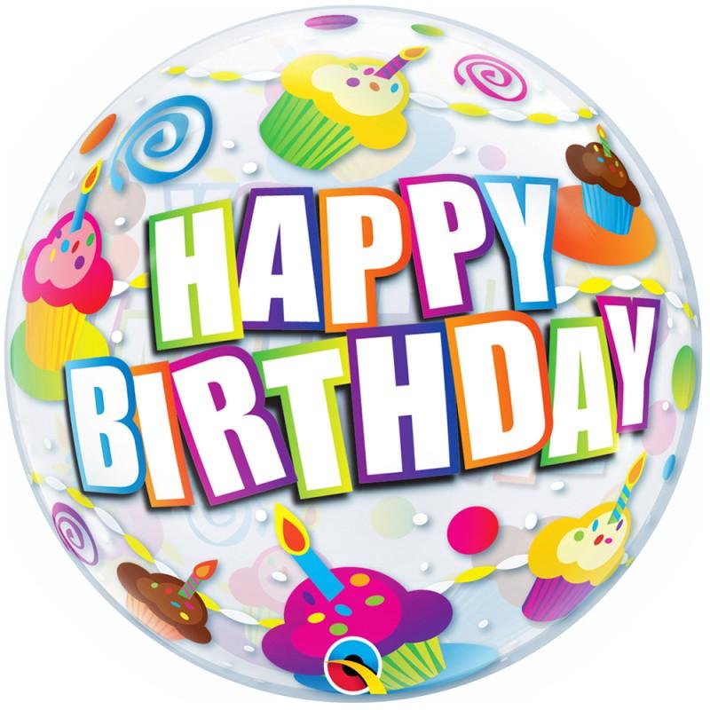 Balão Happy Birthday • Cupcakes • Bubble • Qualatex