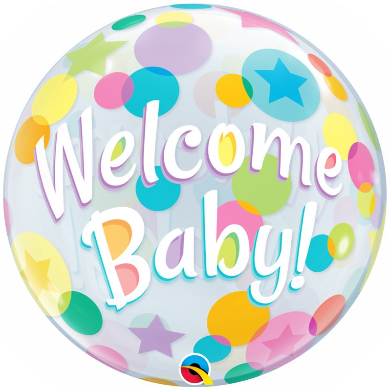Balão Welcome Baby • Bubble • Qualatex
