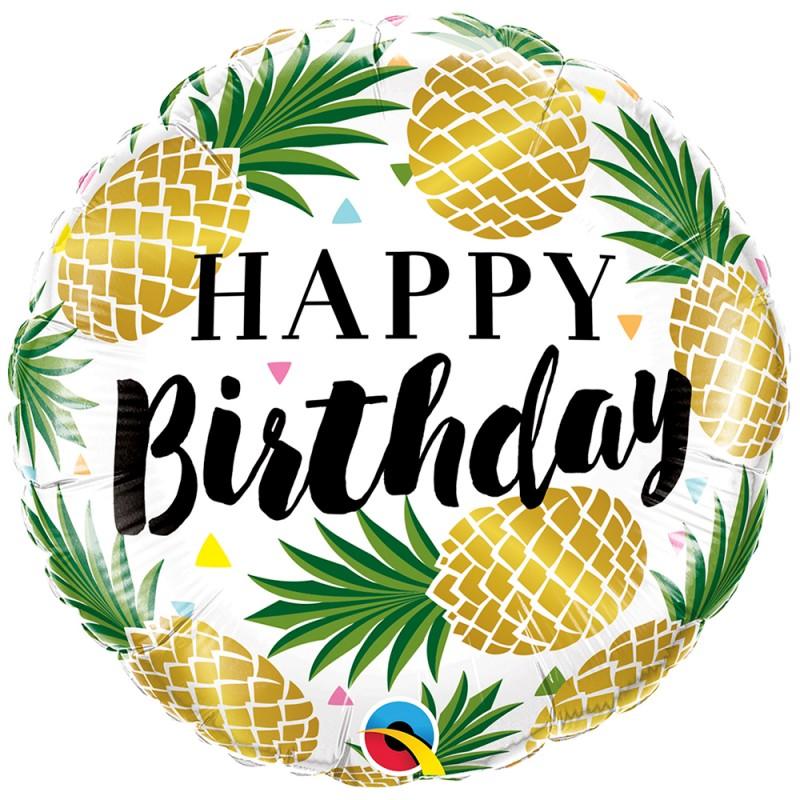 Balão Happy Birthday • Abacaxis • Foil • Qualatex