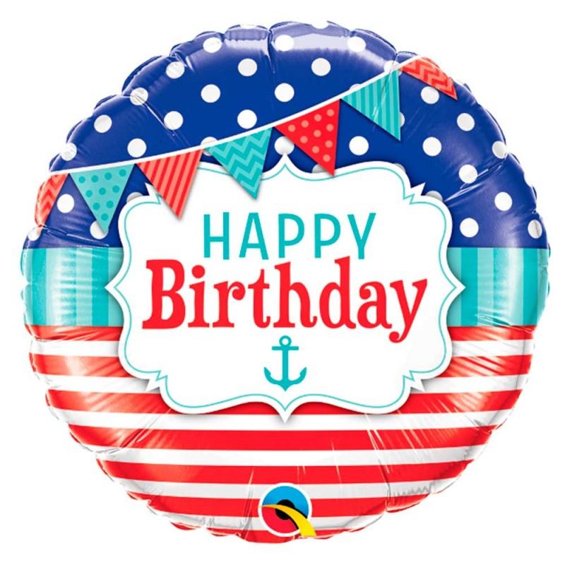 Balão Happy Birthday • Marinheiro • Foil • Qualatex