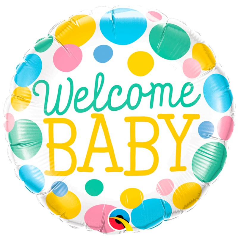 Balão Welcome Baby • Poá • Foil Qualatex