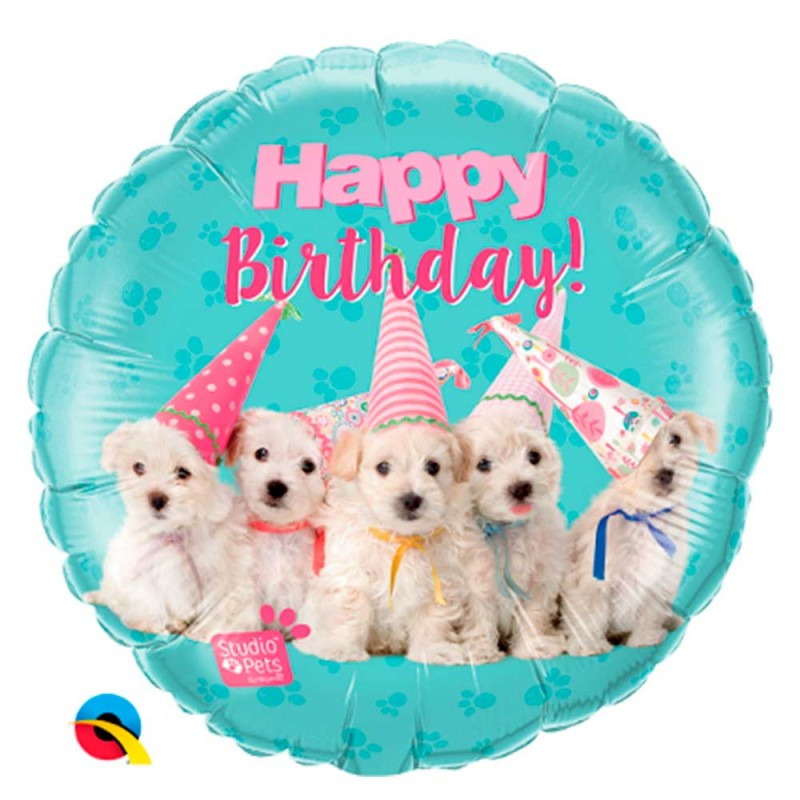 Balão Happy Birthday Cachorros • Foil • Qualatex