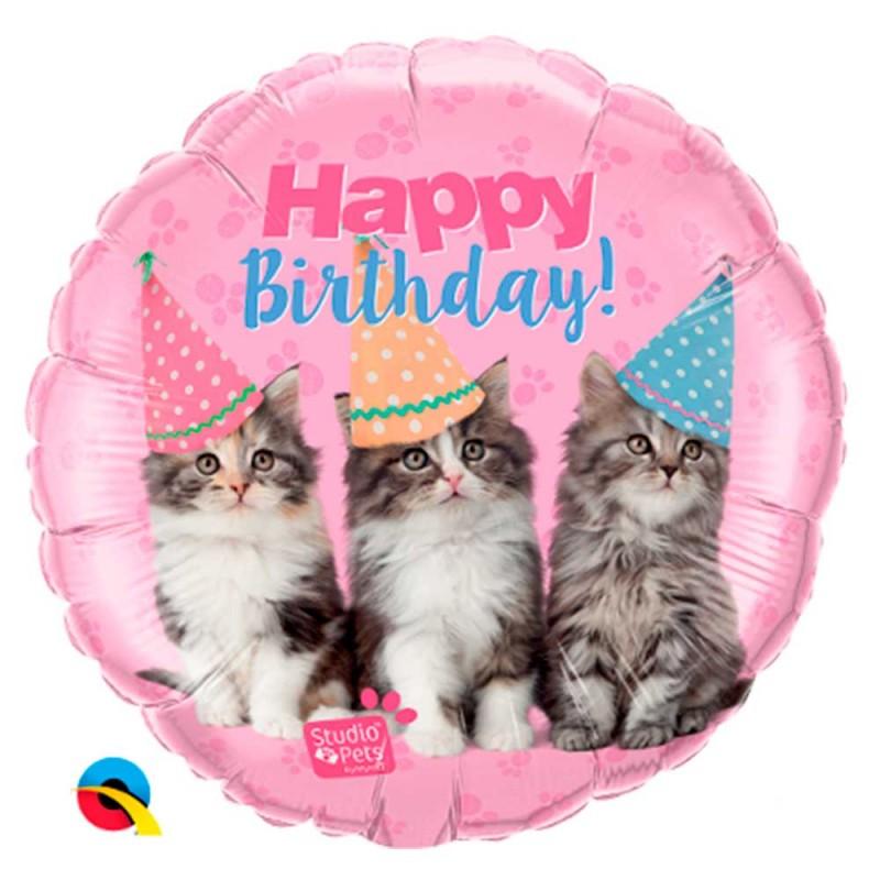 Balão Happy Birthday Gatinhos • Foil • Qualatex