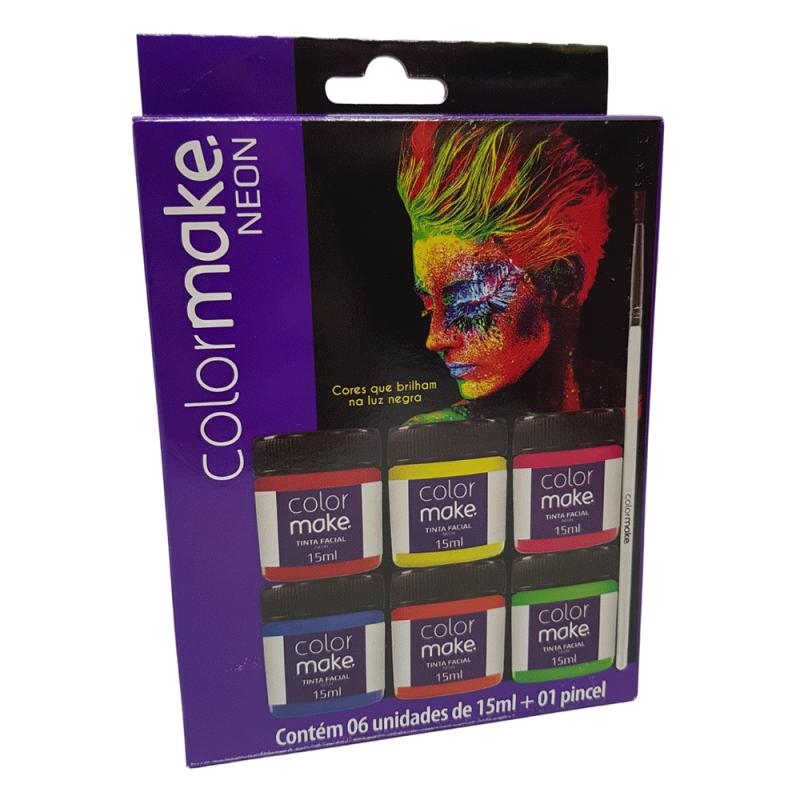 Tinta Facial Neon - 6 Cores - Colormake