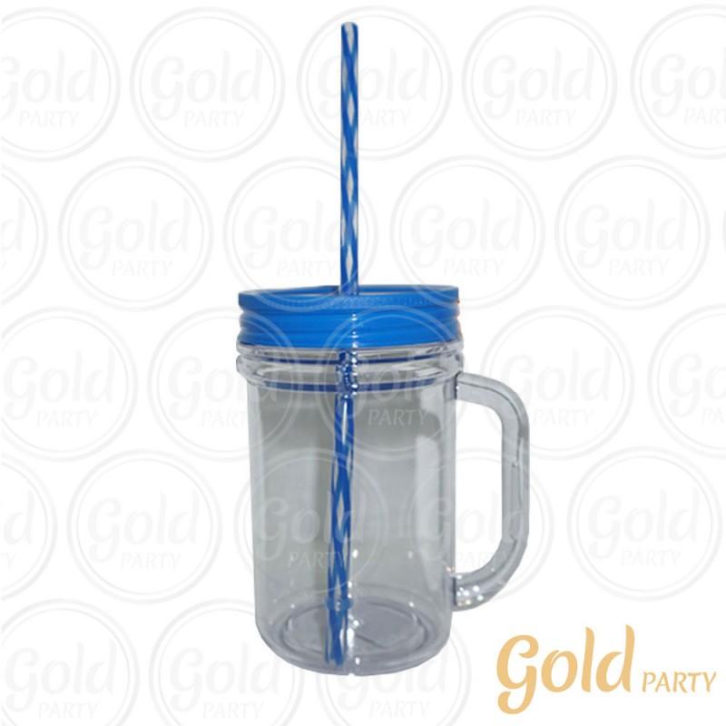 Caneca Acrílico• 300ml•Cristal Azul • Gold Party
