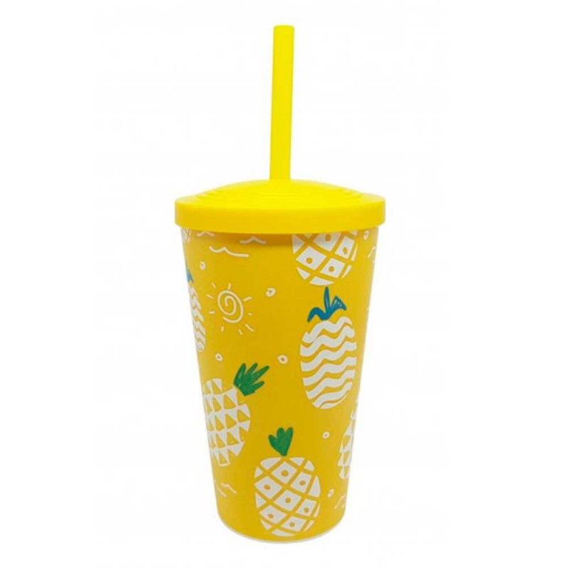 Copo Plastico Abacaxi • Amarelo • 550ml • Neoplas