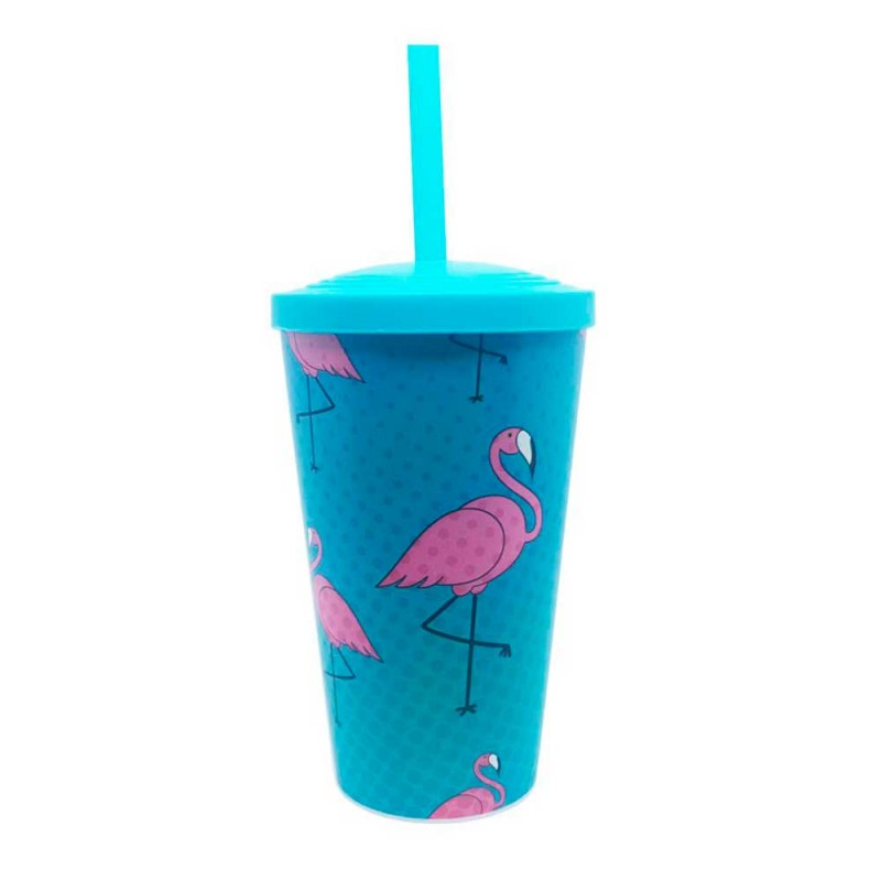 Copo Plastico Flamingo • Azul • 550ml • Neoplas
