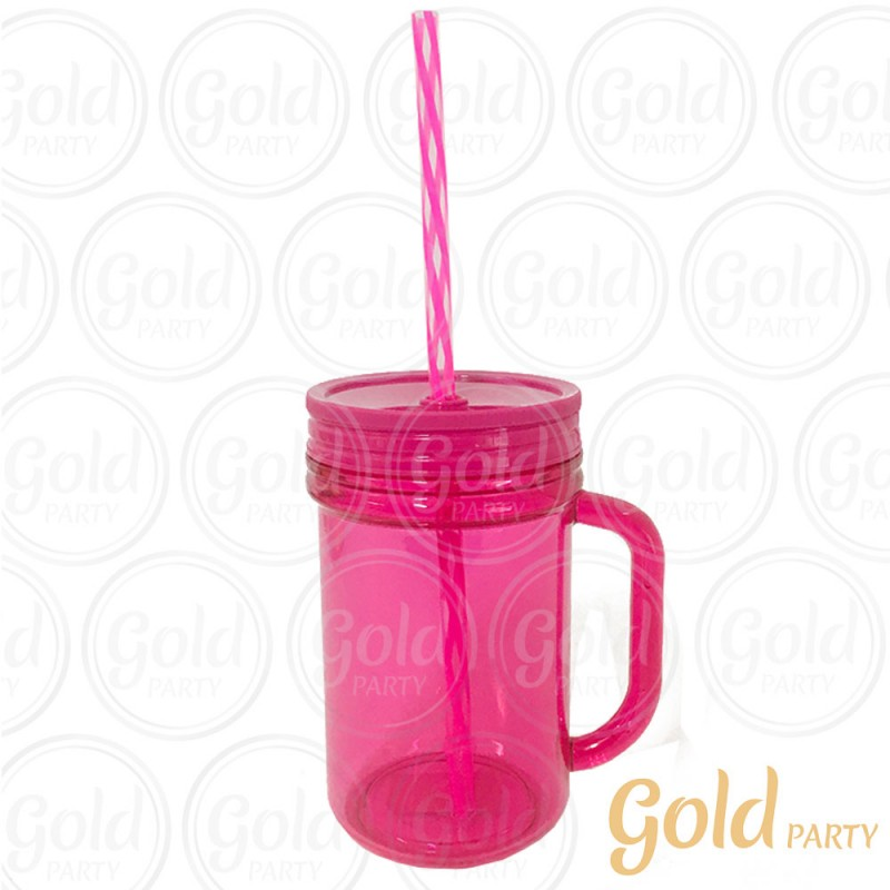 Caneca Acrílica • 300ml • Rosa • Gold Party
