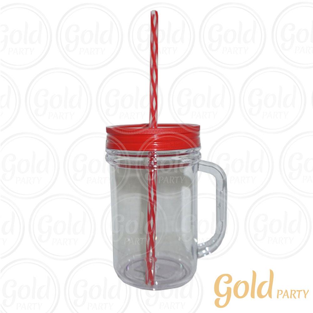 Caneca Acrílica • 300ml • Cristal Vermelha • Gold Party