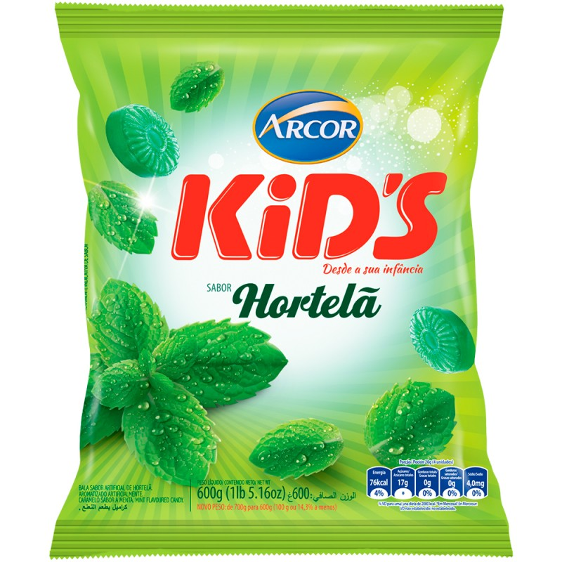 Bala Kid's • Hortelã • 600g Arcor
