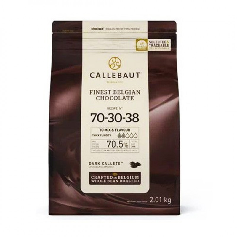 Chocolate Belga •  Callets • Amargo • nº70-30-38 • 70.5% |2.01kg |Callebault