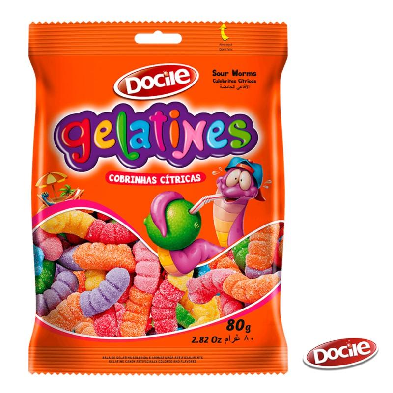 Gelatines Cobrinhas Cítricas 80g • Docile